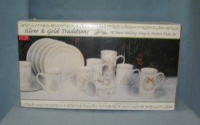 Traditions 16 Piece Holiday Mug & Dessert Plate Set
