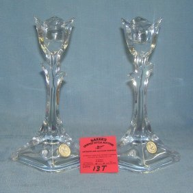 Pair Of Lead Crystal Candle Sticks