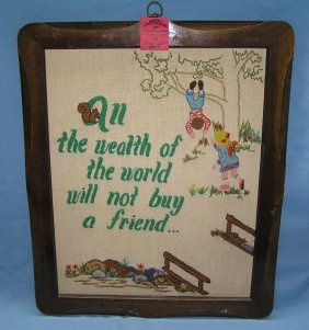 Vintage Framed Needle Point Circa 1950's