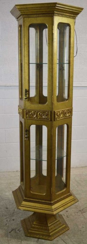 Gold Tone Lighted Hexagon Curio Cabinet Gold Tone Lot 245