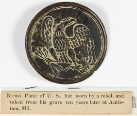 Union Breast Plate From An Antietam Confederate Grave,