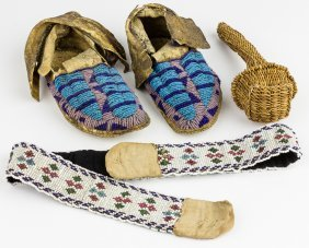 Indian Moccasins, Belt And Rattle
