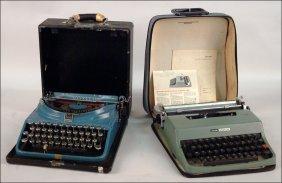 TWO OLIVETTI HEBREW LANGUAGE TYPEWRITERS.