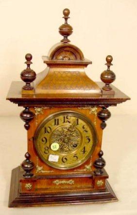 Walnut & Mixed Wood Bracket Style Clock NR