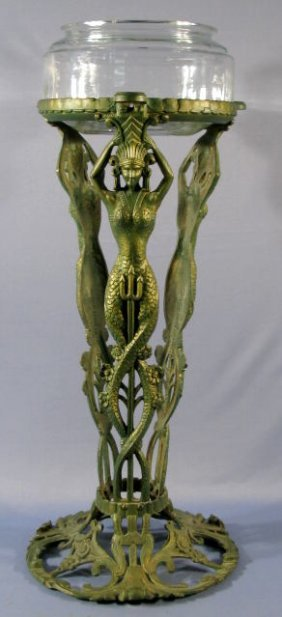 Cast iron fish bowl stand w mermaids by booth co
