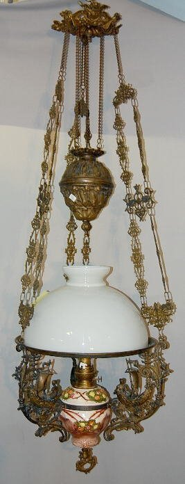 141 Dutch Antique Brass Amp Majolica Hanging Oil Lamp Lot 141