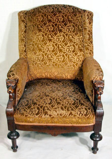 144: Upholstered Chair w/Dog Head Arms : Lot 144