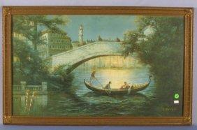 E. Poudol Framed Gondola & Bridge Print