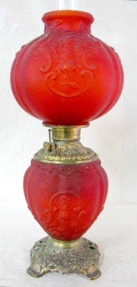 """Fostoria Glass Co. Red Satin """"Gardenia"""" GWTW Lamp"""