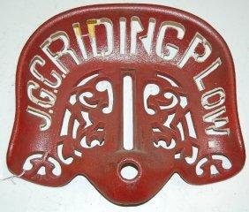 Cast Iron J.G.C. Riding Plow Implement Seat