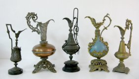 Group Of 5 Ornate Decorative Metal Side Urns