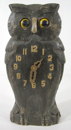3 Carved Wood Owl Clock W Moving Eyes Lot 3
