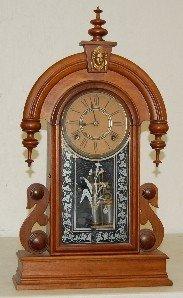 Antique Walnut Tear Drop Parlor Clock