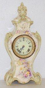 Antique Ansonia Floral Case T & S China Clock