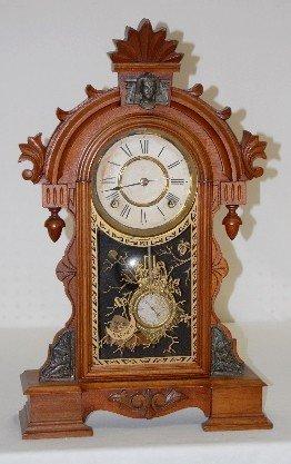 Ansonia Walnut Egyptian Head Parlor Clock