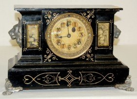 "New Haven ""Washington"" Enameled Iron Case Clock"