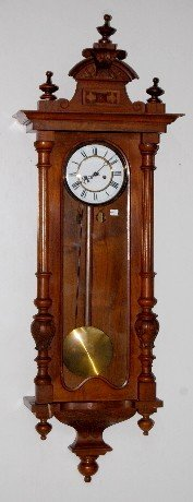 2 Weight Carved Walnut Vienna Regulator Clock