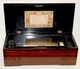 Antique Swiss Cylinder Music Box, Six Tune