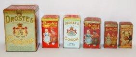 6 Droste's Cocoa Powder Tins