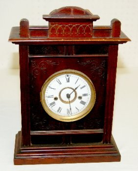 Antique Carved Mahogany Mantel Clock