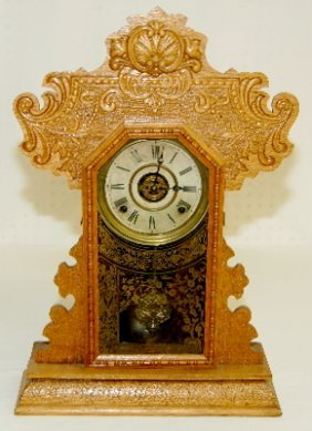 "Ingraham ""Minerva"" Oak Kitchen Clock"