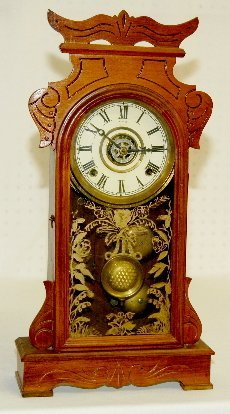 Antique Walnut Kitchen Clock With Alarm