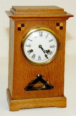 German Inlaid Oak Shelf Clock