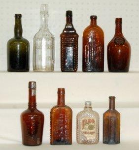 9 Antique Bottles, Medicine, Whiskey & Rye, 1860s