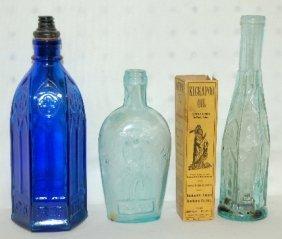 4 Antique Bottles, 1890's-1930's, Kickapoo Indian