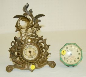 2 Antique Dresser Clocks, Bird, Shoe Advertising