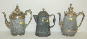 3 Antique Gray Enamel Coffee Pots, Graniteware