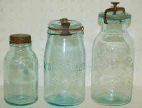 3 Antique Aqua Canning Jars, Whitall's 1861