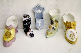 5 China, Jasperware & Slag Glass Novelties