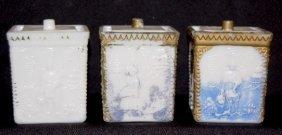 3 Milk Glass Oriental Scenic Mustard Pots