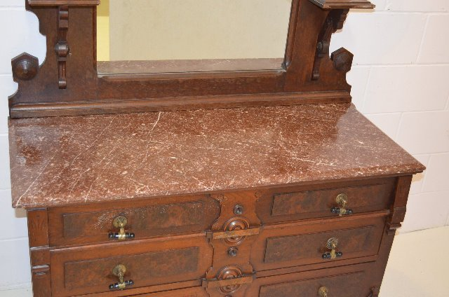 Red Marble Top : Victorian red marble top walnut dresser w mirror lot