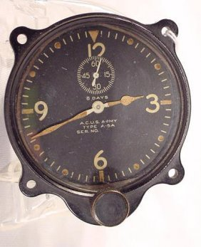 AC US Army Airplane Clock, Elgin NR
