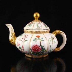 Chinese Gilt Gold Famille Rose Porcelain Big Teapot