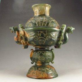 Vintage Chinese Hetian Jade Double Ears Incense Burner