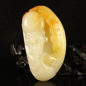 Chinese Natural Jade Pendant - Longevity Taoism Deity