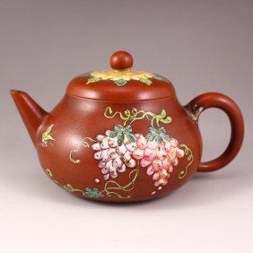 Handmade China Yixing Zisha Clay Teapot W Artist Signed