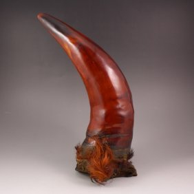 Chinese Ox Horn Statue