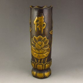 Chinese Bronze Incense Tube Carved Lotus
