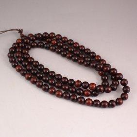 Chinese Natural Zitan Wood 108 Buddhism Prayer Necklace