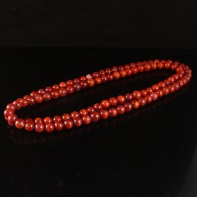 Beautiful Color Chinese Nan Hong Agate Beads Necklace