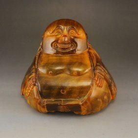 Hand Carved Chinese Ox Horn Statue - Laughing Buddha