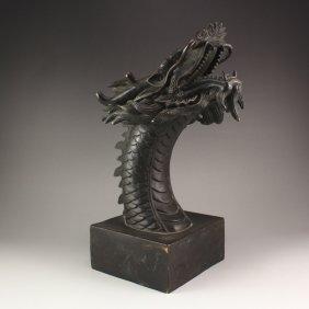 Chinese Bronze Dragon Head Statue