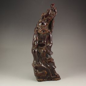Vintage Chinese Ox Horn Dharma Statue