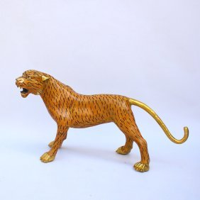 Chinese Gilt- Gold Brass Cloisonne Leopard Statue