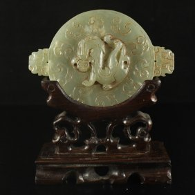 Chinese Hetian Jade Carved Fortune Dragon Plate Statue