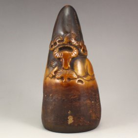 Chinese Ox Horn Carved Fortune Ox Seal Statue